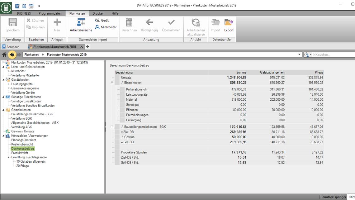 Kalkulationssoftware für Deckungsbeitragsrechnung im GaLaBau