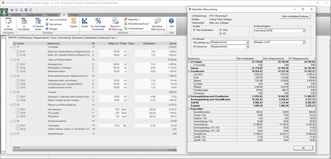 Kalkulationssoftware GaLaBau mit Soll-Ist-Vergleich