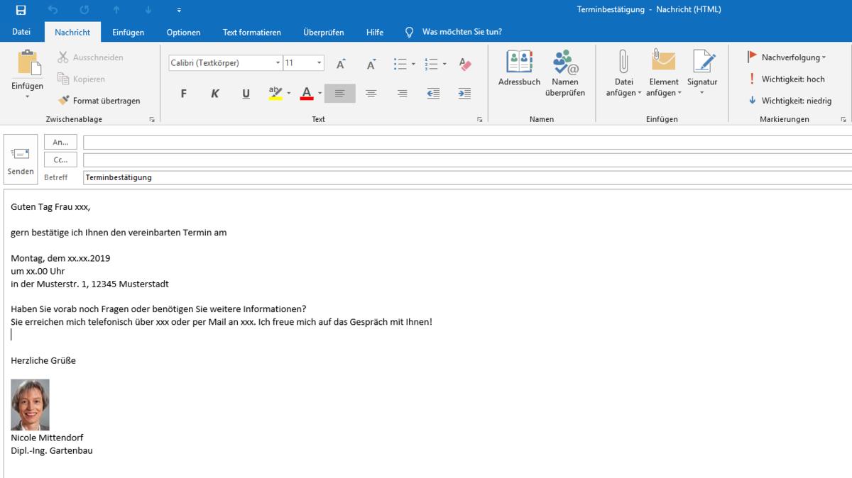 Email Vorlage