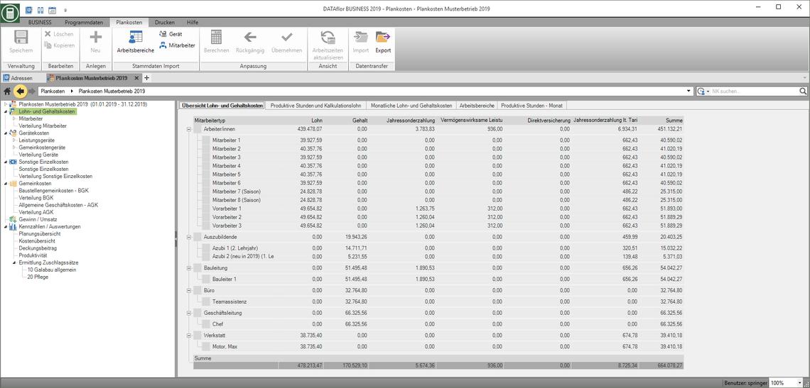 Kalkulationssoftware GaLaBau Löhne und Gehälter