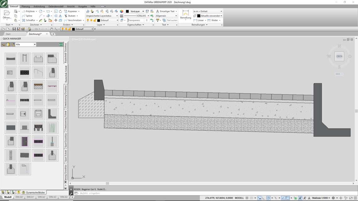 AutoCAD-Bibliothek mit dynamischen Blöcken: Element Schichtaufbau